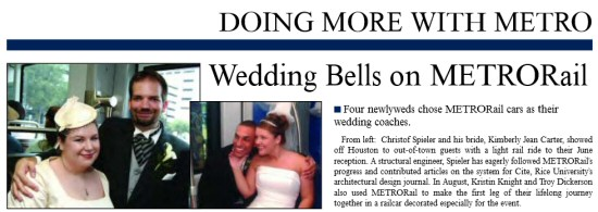 Re-Imagining Houston Transit: Christof Spieler gets married on the Danger Train (courtesy METRO 2004 Annual Report)