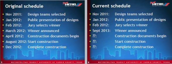 METRO downtown station timetable (original vs current), courtesy METRO